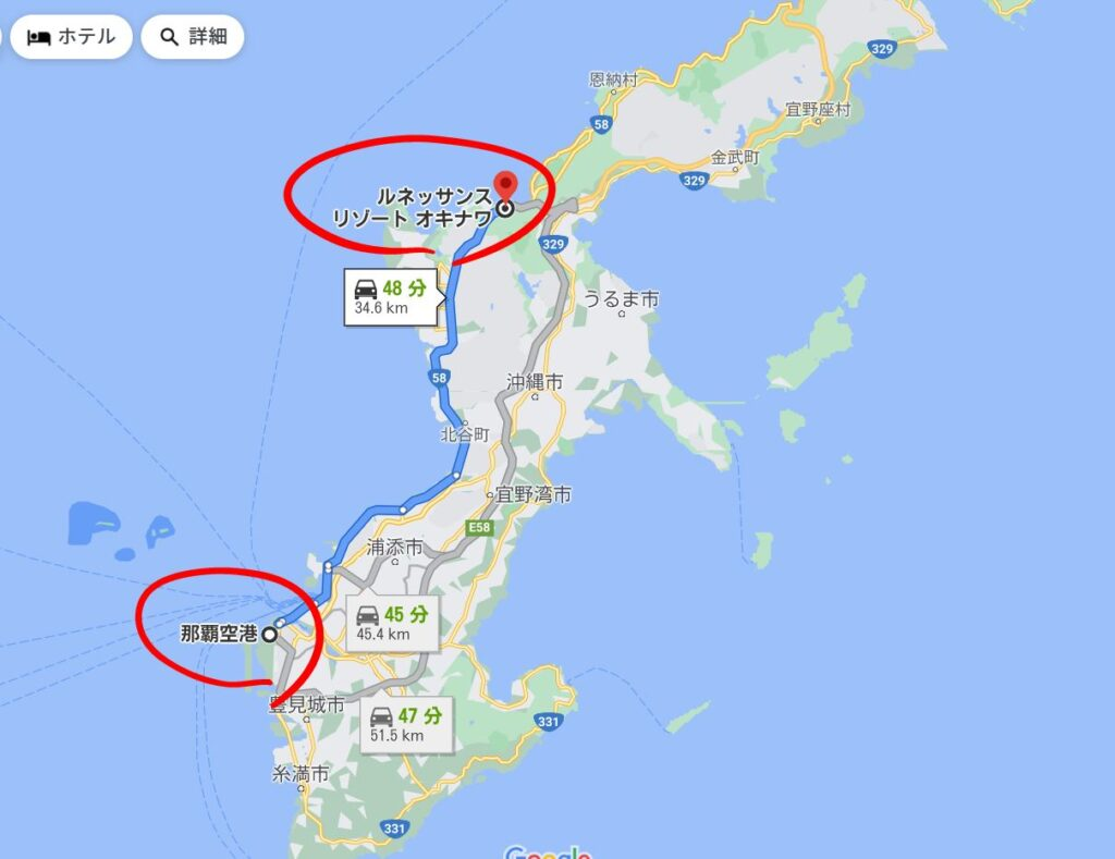 ルネッサンスリゾート沖縄の場所 Googleマップより